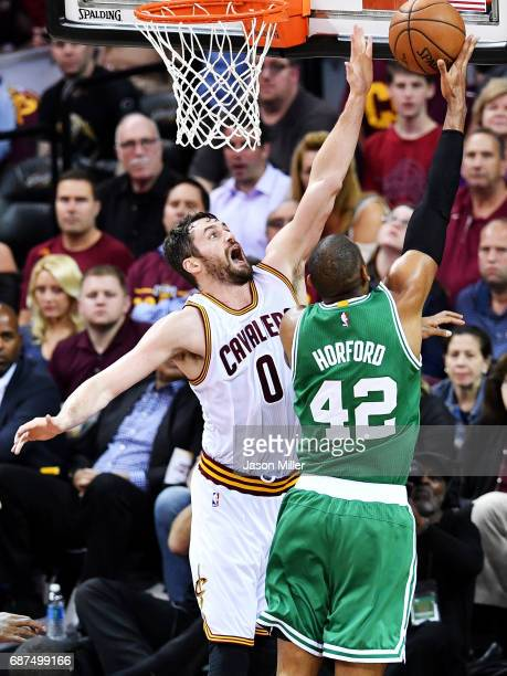 Al Horford of the Boston Celtics goes up against Kevin Love of the Cleveland Cavaliers in the first half during Game Four of the 2017 NBA Eastern...