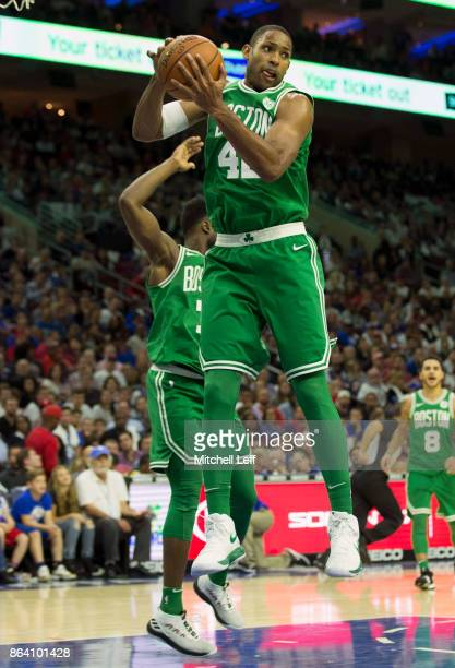 Al Horford of the Boston Celtics grabs a rebound against the Philadelphia 76ers in the fourth quarter at the Wells Fargo Center on October 20 2017 in...