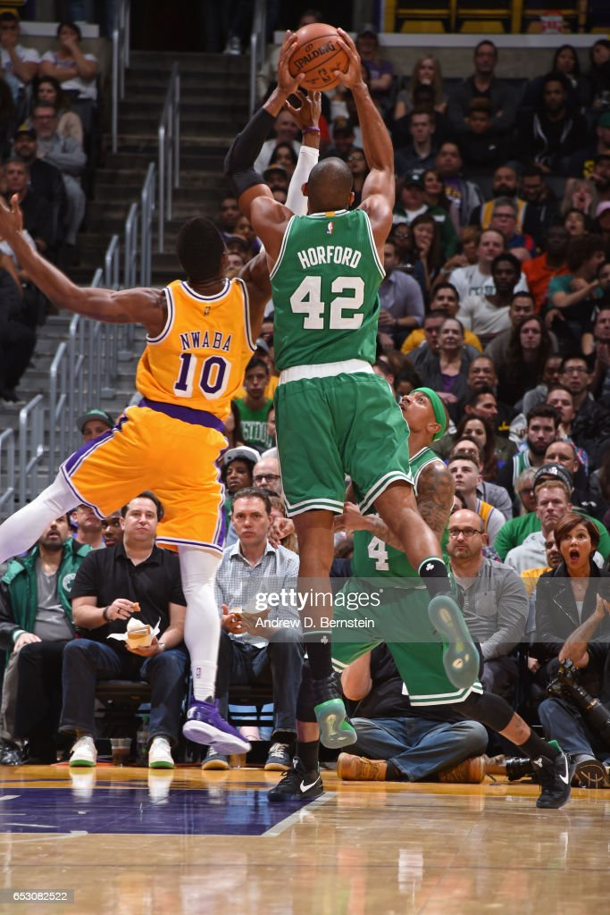 Al Horford #42 of the Boston Celtics grabs the rebound against the Los Angeles Lakers on March 3, 2017 at STAPLES Center in Los Angeles, California.