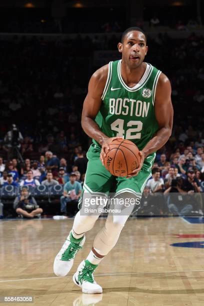 Al Horford of the Boston Celtics handles the ball against the Philadelphia 76ers on October 6 2017 in Philadelphia Pennsylvania at the Wells Fargo...
