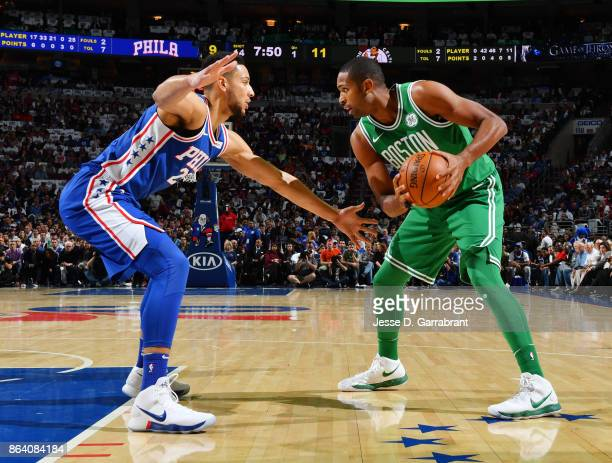 Al Horford of the Boston Celtics handles the ball against the Philadelphia 76ers during the game on October 20 2017 at Wells Fargo Center in...