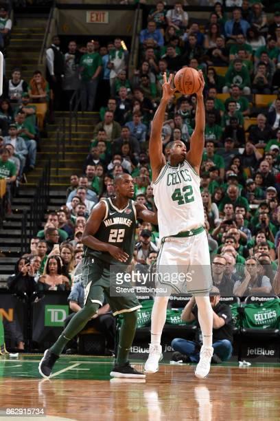Al Horford of the Boston Celtics handles the ball against the Milwaukee Bucks on October 18 2017 at the TD Garden in Boston Massachusetts NOTE TO...
