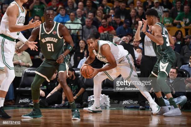 Al Horford of the Boston Celtics handles the ball against the Milwaukee Bucks on December 4 2017 at the TD Garden in Boston Massachusetts NOTE TO...