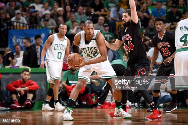 Al Horford of the Boston Celtics handles the ball against the Chicago Bulls during the Eastern Conference Quarterfinals of the 2017 NBA Playoffs on...