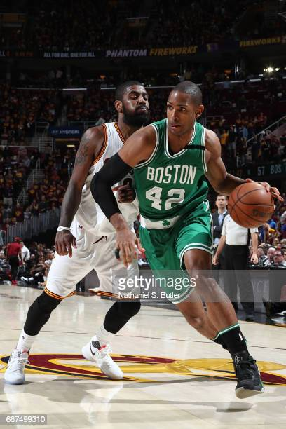 Al Horford of the Boston Celtics handles the ball against the Cleveland Cavaliers in Game Four of the Eastern Conference Finals during the 2017 NBA...