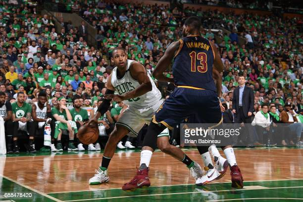 Al Horford of the Boston Celtics handles the ball against the Cleveland Cavaliers in Game Five of the Eastern Conference Finals of the 2017 NBA...