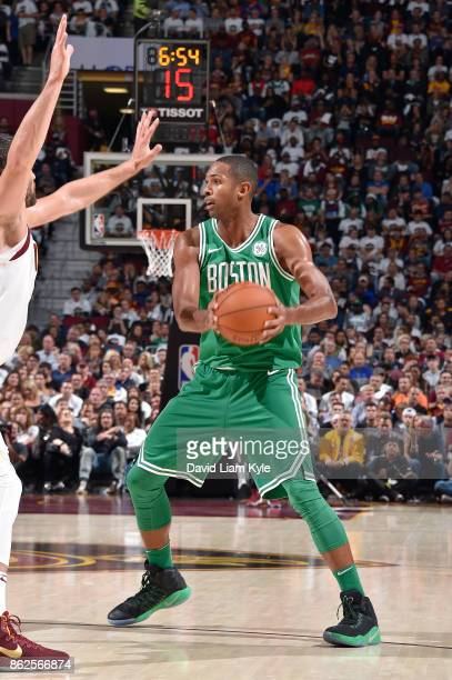 Al Horford of the Boston Celtics handles the ball against the Cleveland Cavaliers on October 17 2017 at Quicken Loans Arena in Cleveland Ohio NOTE TO...