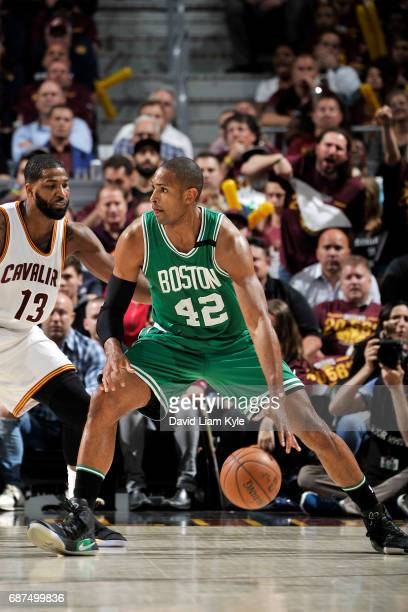 Al Horford of the Boston Celtics handles the ball during the game against the Cleveland Cavaliers in Game Four of the Eastern Conference Finals of...