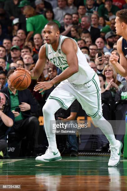 Al Horford of the Boston Celtics handles the ball during the game against the Dallas Mavericks on December 6 2017 at the TD Garden in Boston...