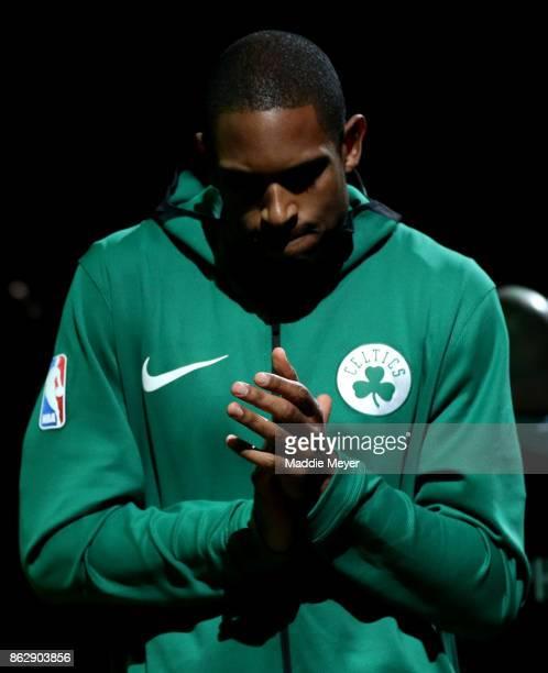 Al Horford of the Boston Celtics is announced before the game against the Milwaukee Bucks at TD Garden on October 18 2017 in Boston Massachusetts...