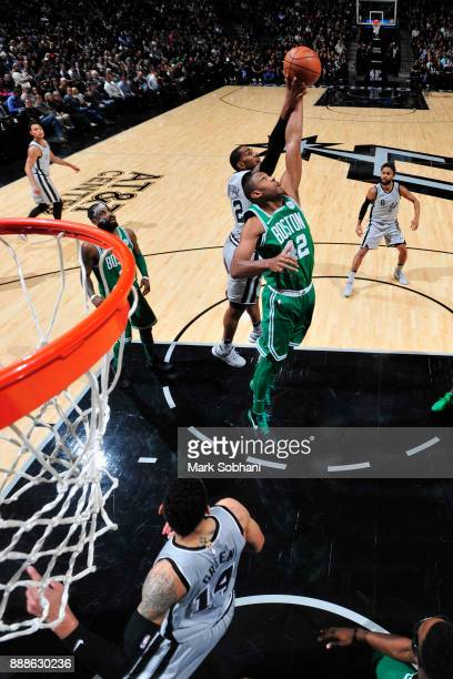 Al Horford of the Boston Celtics jumps for the rebound against the San Antonio Spurs on December 8 2017 at the ATT Center in San Antonio Texas NOTE...