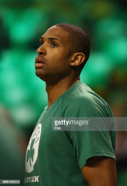 Al Horford of the Boston Celtics looks on prior to Game Five of the 2017 NBA Eastern Conference Finals against the Cleveland Cavaliers at TD Garden...