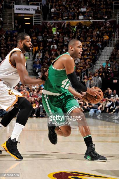 Al Horford of the Boston Celtics looks to pass the ball during the game against the Cleveland Cavaliers in Game Four of the Eastern Conference Finals...