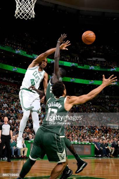 Al Horford of the Boston Celtics passes the ball against the Milwaukee Bucks on December 4 2017 at the TD Garden in Boston Massachusetts NOTE TO USER...