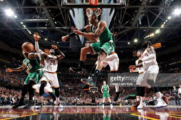Al Horford of the Boston Celtics passes the ball during the game against the Cleveland Cavaliers in Game Four of the Eastern Conference Finals of the...