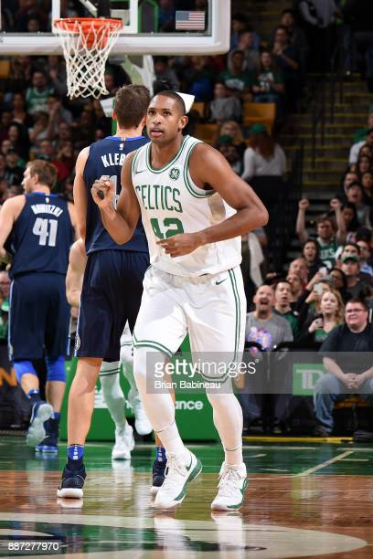 Al Horford of the Boston Celtics reacts during the game against the Dallas Mavericks on December 6 2017 at the TD Garden in Boston Massachusetts NOTE...