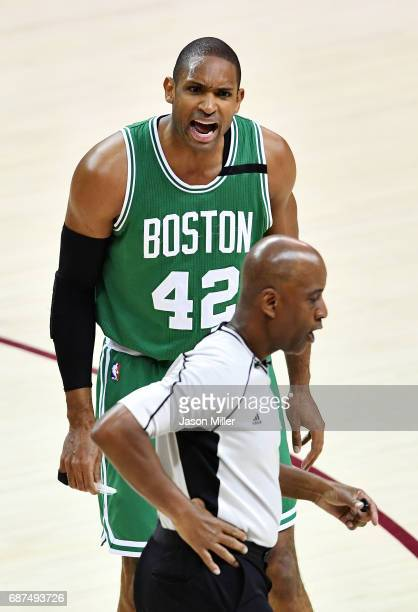 Al Horford of the Boston Celtics reacts to a call in the first half against the Cleveland Cavaliers during Game Four of the 2017 NBA Eastern...