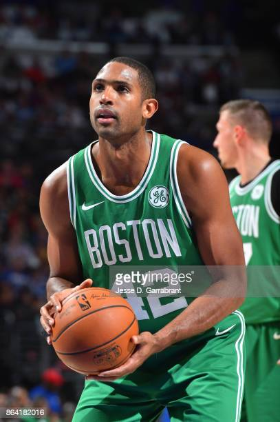 Al Horford of the Boston Celtics shoots a free throw against the Philadelphia 76ers during the game on October 20 2017 at Wells Fargo Center in...
