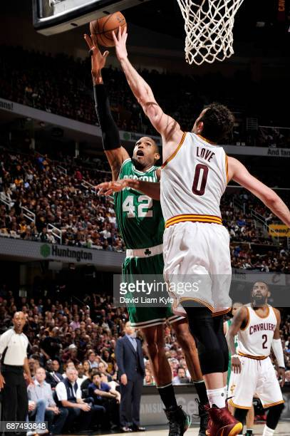 Al Horford of the Boston Celtics shoots a lay up during the game against the Cleveland Cavaliers in Game Four of the Eastern Conference Finals of the...