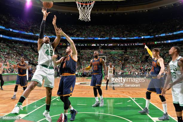 Al Horford of the Boston Celtics shoots a lay up during the game against the Cleveland Cavaliers during Game Five of the Eastern Conference Finals of...