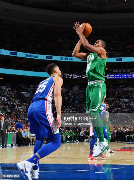 Al Horford of the Boston Celtics shoots the ball against the Philadelphia 76ers during the game on October 20 2017 at Wells Fargo Center in...