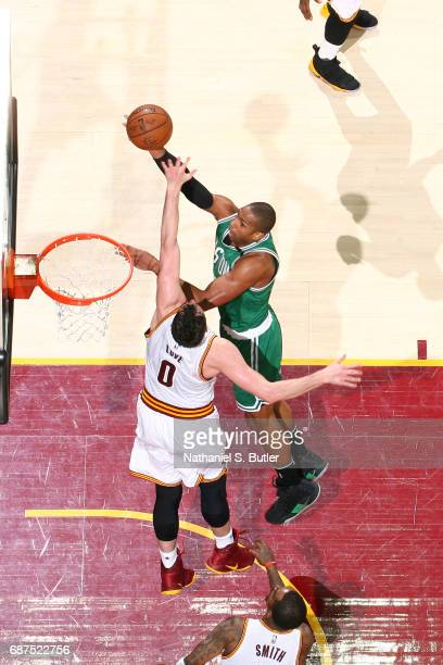 Al Horford of the Boston Celtics shoots the ball against the Cleveland Cavaliers in Game Four of the Eastern Conference Finals during the 2017 NBA...