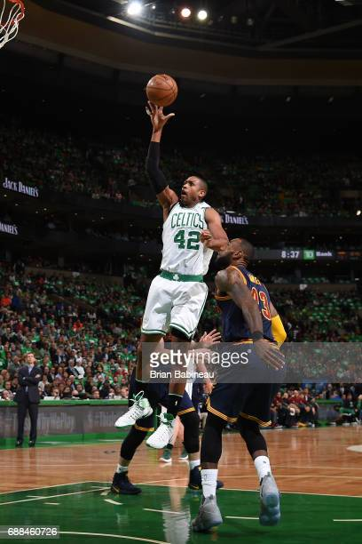 Al Horford of the Boston Celtics shoots the ball against the Cleveland Cavaliers in Game Five of the Eastern Conference Finals of the 2017 NBA...