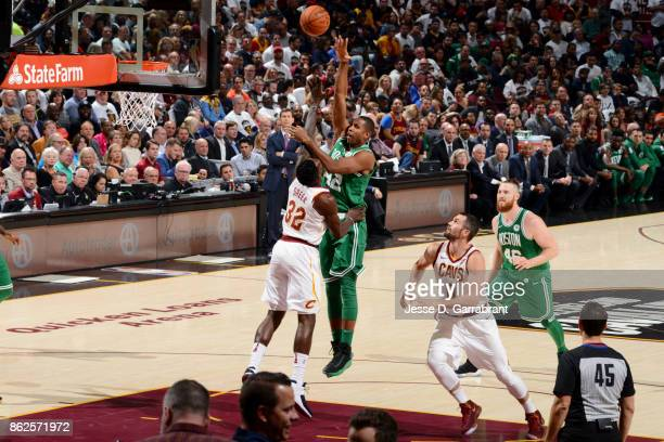 Al Horford of the Boston Celtics shoots the ball against the Cleveland Cavaliers on October 17 2017 at Quicken Loans Arena in Cleveland Ohio NOTE TO...
