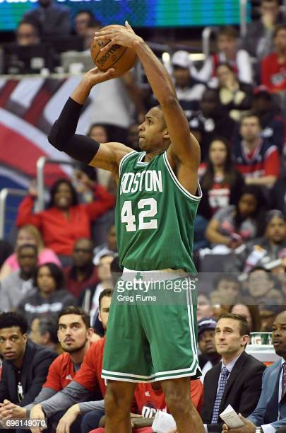 Al Horford of the Boston Celtics shoots the ball against the Washington Wizards in Game Three of the Eastern Conference Semifinals at Verizon Center...