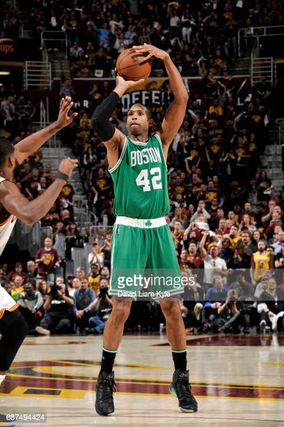 Al Horford of the Boston Celtics shoots the ball during the game against the Cleveland Cavaliers in Game Four of the Eastern Conference Finals of the...