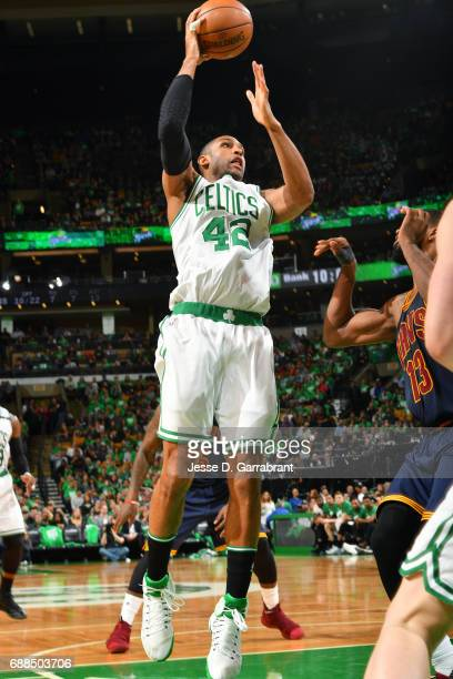 Al Horford of the Boston Celtics shoots the ball during the game against the Cleveland Cavaliers during Game Five of the Eastern Conference Finals of...