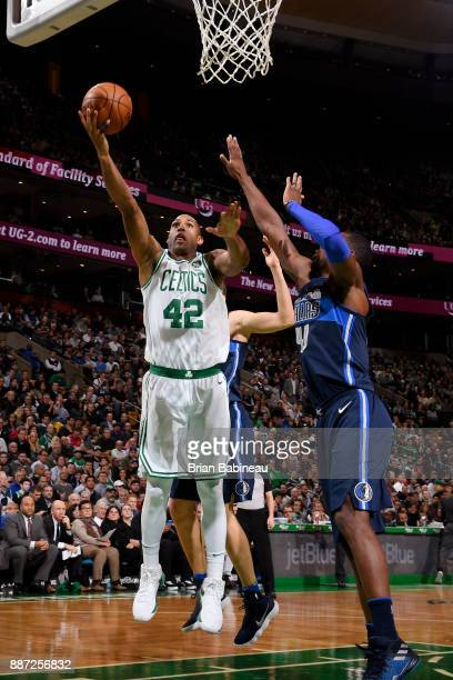 Al Horford of the Boston Celtics shoots the ball during the game against the Dallas Mavericks on December 6 2017 at the TD Garden in Boston...