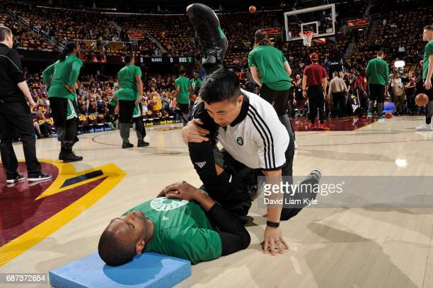 Al Horford of the Boston Celtics stretches before Game Three of the Eastern Conference Finals against the Cleveland Cavaliers during the 2017 NBA...