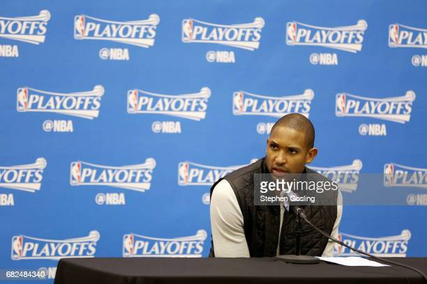 Al Horford of the Boston Celtics talks with the press after the game against the Washington Wizards during Game Six of the Eastern Conference...