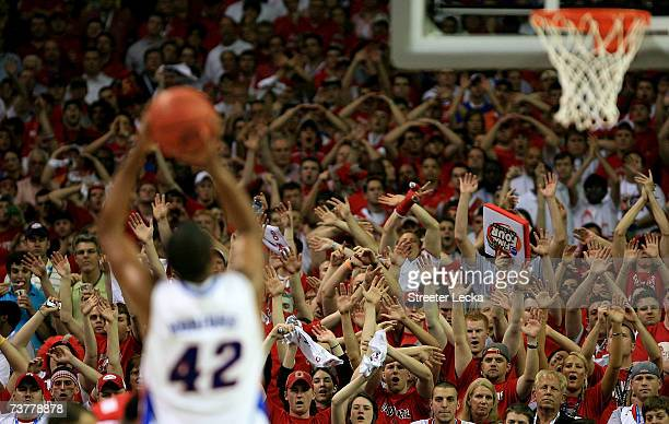 Al Horford of the Florida Gators shoots a free throw against the Ohio State Buckeyes during the NCAA Men's Basketball Championship game at the...