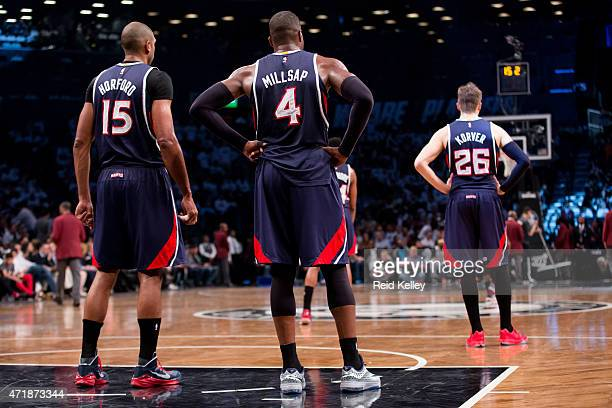 Al Horford Paul Millsap and Kyle Korver of the Atlanta Hawks during the game against the Brooklyn Nets in Game Six of the Eastern Conference...