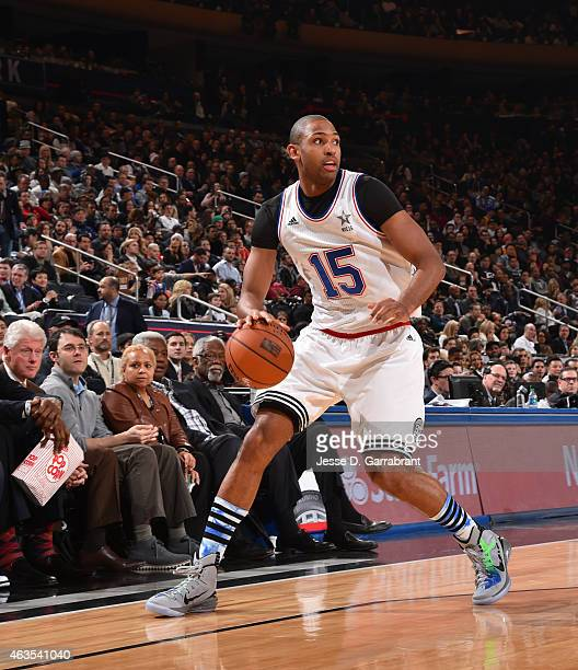 Al Horford playing for the East Coast allstars dribbles the ball during the 2015 NBA AllStar Game at Madison Square Garden on February 15 2015 in New...