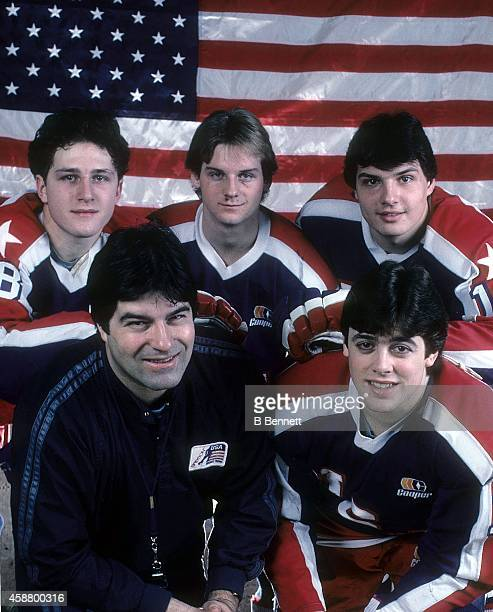 Al Iafrate David Jensen Ed Olczyk Pat LaFontaine and head coach Lou Vairo of the 1984 United States hockey team pose for a portrait circa 1984