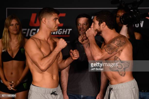 Al Iaquinta and Diego Sanchez face off during the UFC Fight Night weighin at the Sheraton Music City Hotel on April 21 2017 in Nashville Tennessee