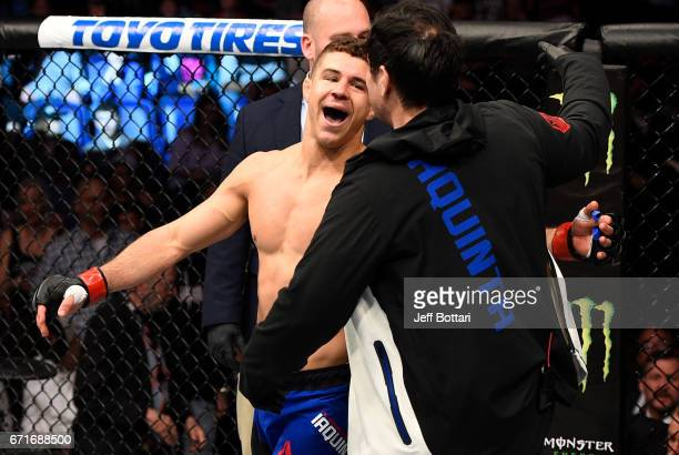 Al Iaquinta celebrates after his knockout victory over Diego Sanchez in their lightweight bout during the UFC Fight Night event at Bridgestone Arena...