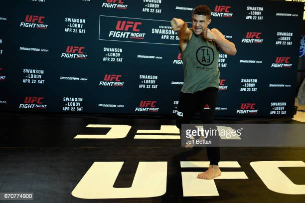 Al Iaquinta holds an open workout for fans and media at the Bridgestone Arena Atrium on April 20 2017 in Nashville Tennessee