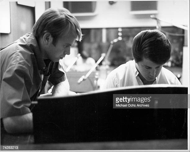 Al Jardine and Brian Wilson of the rock and roll band 'The Beach Boys' work on a song for their album 'Beach Boys' Party' in September 1965