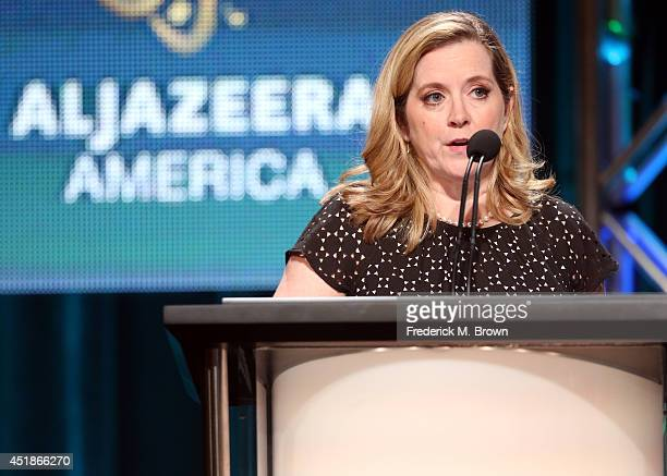 Al Jazeera America president Kate O'Brian speaks onstage at the Formal News panel during the Al Jazeera America portion of the 2014 Summer Television...