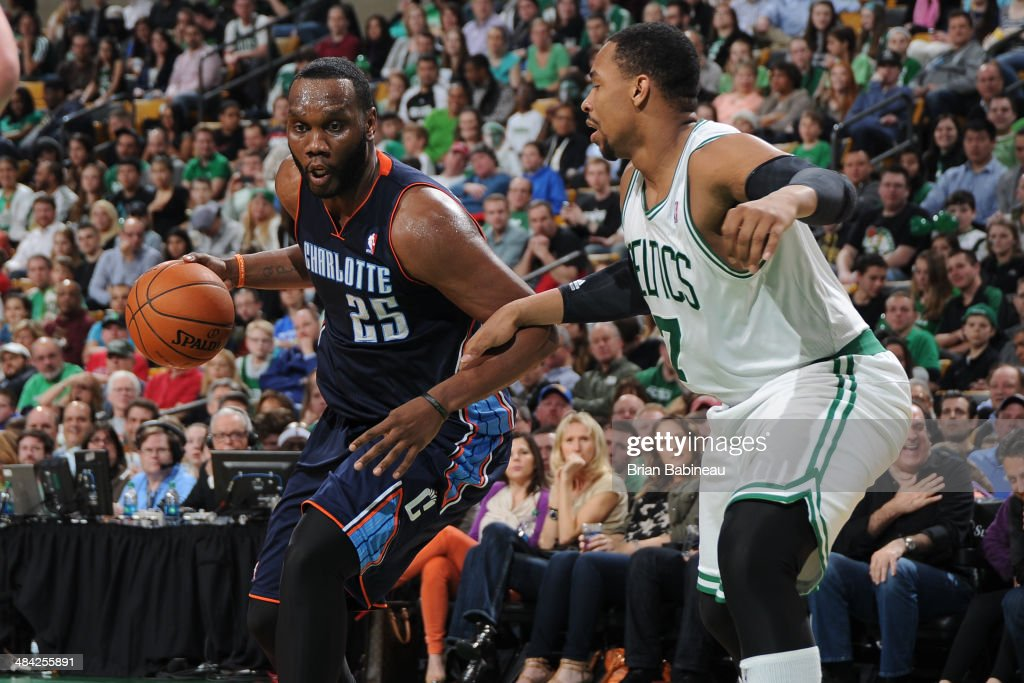<a gi-track='captionPersonalityLinkClicked' href=/galleries/search?phrase=Al+Jefferson&family=editorial&specificpeople=201604 ng-click='$event.stopPropagation()'>Al Jefferson</a> #25 of the Charlotte Bobcats drives to the basket during the game against Jared Sullinger #7 of the Boston Celtics on April 11, 2014 at the TD Garden in Boston, Massachusetts.