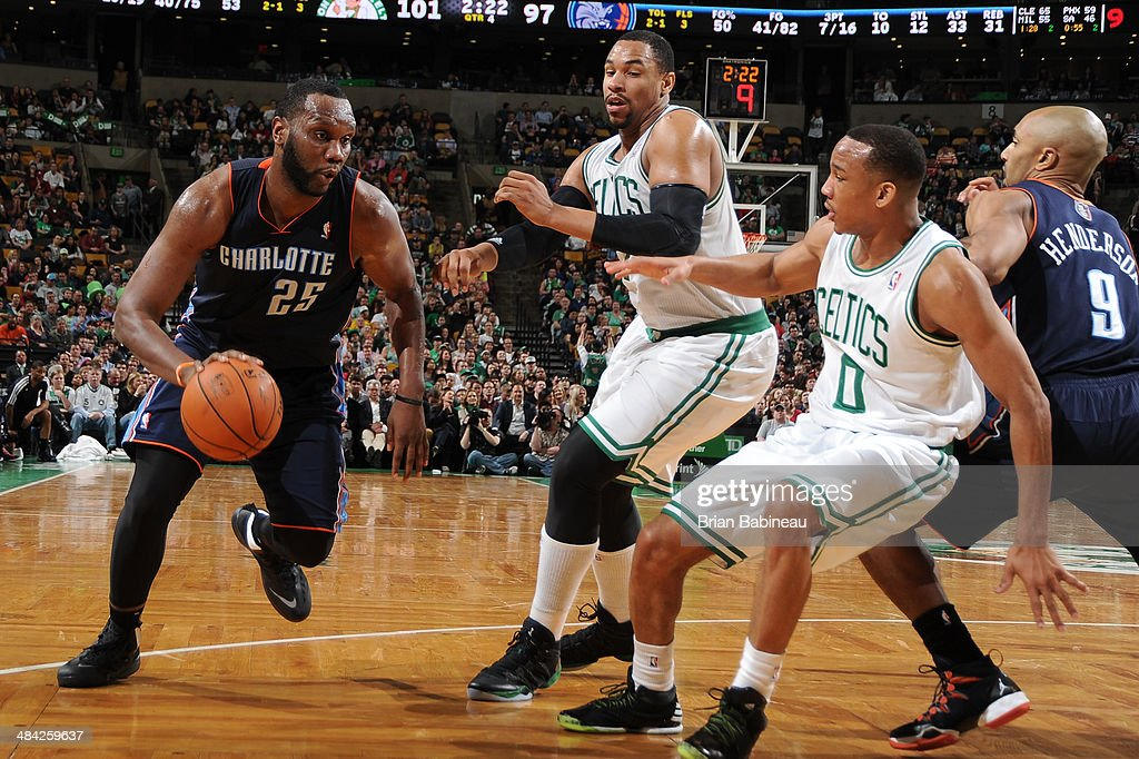 <a gi-track='captionPersonalityLinkClicked' href=/galleries/search?phrase=Al+Jefferson&family=editorial&specificpeople=201604 ng-click='$event.stopPropagation()'>Al Jefferson</a> #25 of the Charlotte Bobcats drives to the basket during the game against the Boston Celtics on April 11, 2014 at the TD Garden in Boston, Massachusetts.