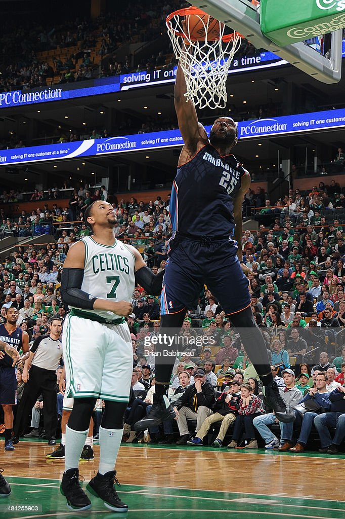 <a gi-track='captionPersonalityLinkClicked' href=/galleries/search?phrase=Al+Jefferson&family=editorial&specificpeople=201604 ng-click='$event.stopPropagation()'>Al Jefferson</a> #25 of the Charlotte Bobcats dunks the ball during the game against the Boston Celtics on April 11, 2014 at the TD Garden in Boston, Massachusetts.