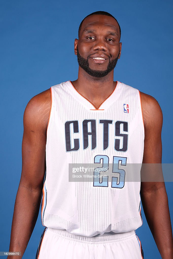 Al Jefferson #25 of the Charlotte Bobcats poses for media day at the Time Warner Cable Arena on September 20, 2013 in Charlotte, North Carolina.