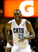 Al Jefferson of the Charlotte Bobcats reacts after a play against the Philadelphia 76ers during their game at Time Warner Cable Arena on April 12...