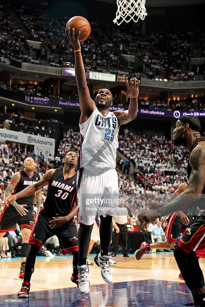 <a gi-track='captionPersonalityLinkClicked' href=/galleries/search?phrase=Al+Jefferson&family=editorial&specificpeople=201604 ng-click='$event.stopPropagation()'>Al Jefferson</a> #25 of the Charlotte Bobcats shoots against the Miami Heat in Game Three of the Eastern Conference Quarterfinals of the 2014 NBA playoffs at the Time Warner Cable Arena on April 26, 2014 in Charlotte, North Carolina.