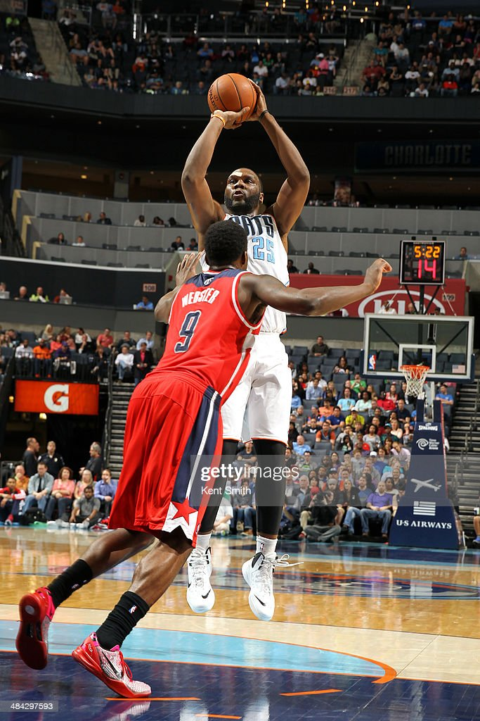<a gi-track='captionPersonalityLinkClicked' href=/galleries/search?phrase=Al+Jefferson&family=editorial&specificpeople=201604 ng-click='$event.stopPropagation()'>Al Jefferson</a> #25 of the Charlotte Bobcats takes a shot against the Washington Wizards at the Time Warner Cable Arena on March 31, 2014 in Charlotte, North Carolina.